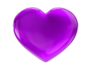 violet heart on white bg