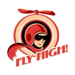 Fly high! retro aviator sticker with propeller