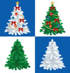 Christmas tree set,Green and White