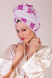 Beauty make up. Woman with towel on her head