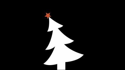 christmas tree and star on black, loop