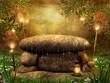 Kamienny ołtarz na łące z lampionami