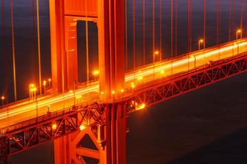 Golden Gate bridge illuminated at night