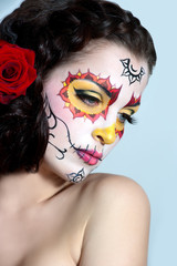 Dead bride woman in skull face art mask. Halloween