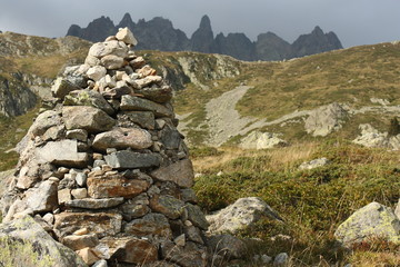 trail cairn in French Alps