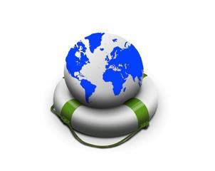 Earth globe in lifebuoy over white