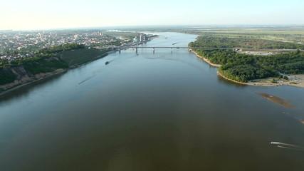flight over river