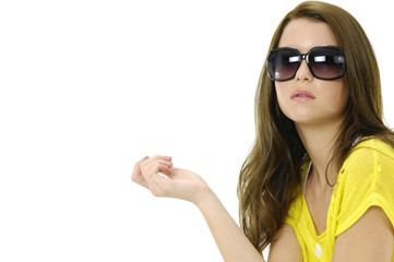 photo of fashion sexy girl wears sunglasses