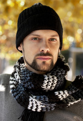 autumn man with scarf and hat