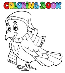 Coloring book cartoon raven