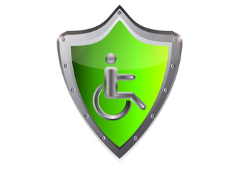 disabled Stick man in wheelchair icon vector illustration