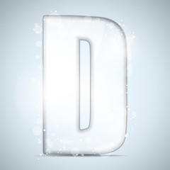 Alphabet Glass Shiny with Sparkles on Background Letter D