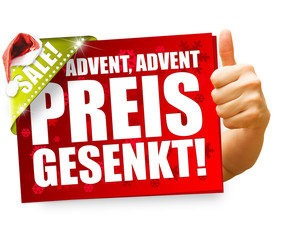Advent, Advent Preis gesenkt! Button, Icon