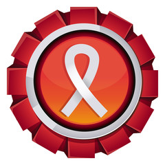 Vector red award with breast cancer sign