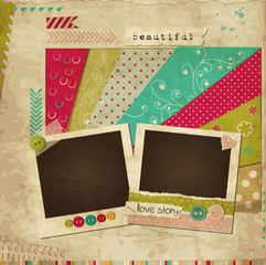Scrap template of vintage worn design with photo frames