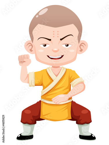 illustration of Cartoon Shaolin boy vector