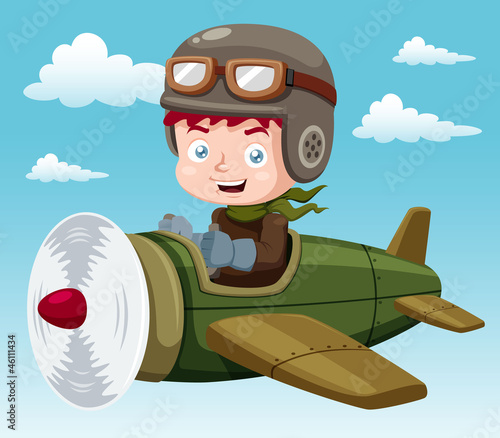illustration of Boy on plane Vector