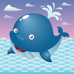 Illustration of a cute cartoon whale