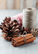 Cinnamon, cones and kitchen twine for christmas decor