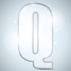Alphabet Glass Shiny with Sparkles on Background Letter Q
