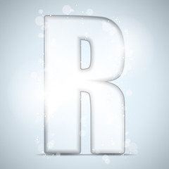 Alphabet Glass Shiny with Sparkles on Background Letter R