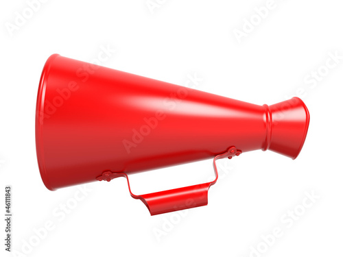 Red Megaphone Isolated on White.