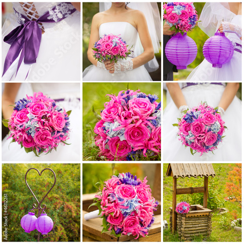 Bride's bouquet and other wedding details in pink and purple