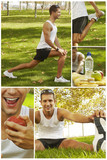 collage of sport man stretching, hydrating and feeding poster