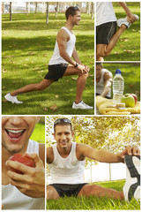 collage of sport man stretching, hydrating and feeding