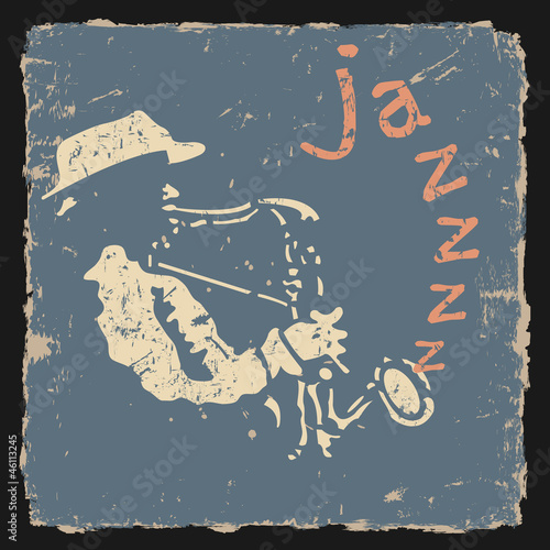 Retro vector illustration with saxophonist