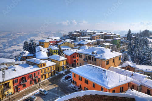 Small town under the snow. Diano D'Alba, Italy.