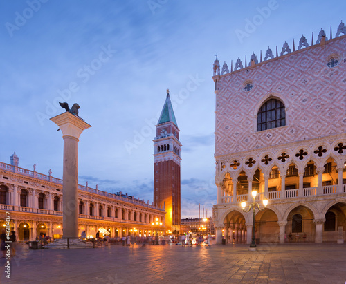 San Marco square with Campanile and Doge Palace after sunset. Ve