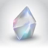 White crystal (Vector illustration of a realistic gemstone)