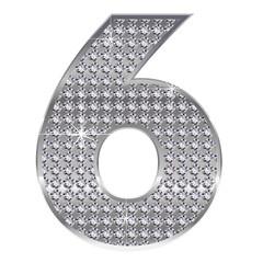 6 数字 銀 シルバー ダイヤモンド
