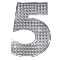 5 数字 銀 シルバー ダイヤモンド