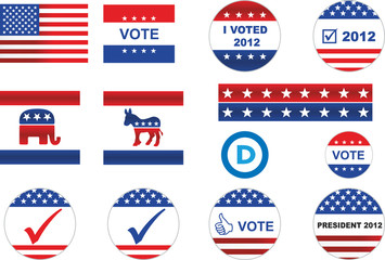US election badges and icons