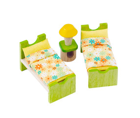 Tiny wooden bed toy furniture for children learning to decorates
