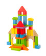 Colorful toy castle built from the wood blocks isolates