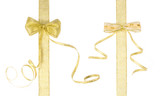 two golden ribbons with bows