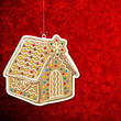 Christmas background with gingerbread house.