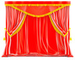 red velvet curtains with golden tassels