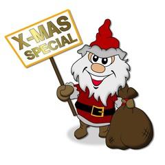 Santa Claus mit Werbeschild