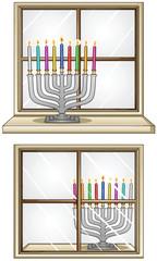Hanukkiah On A Window