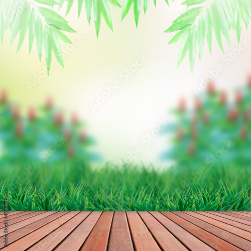 wood terrace and green garden background