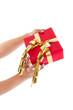 Isoliertes rotes Weihnachtsgeschenk