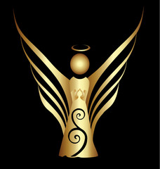 Gold Angel ornament vector