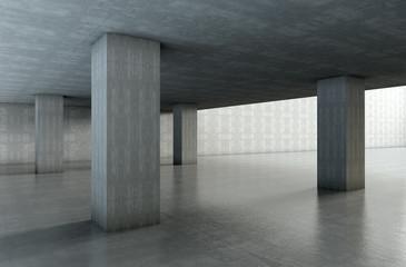 arquitectura 3d.Estructura de cemento con columnas