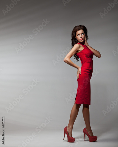 sexy woman wearing red dress