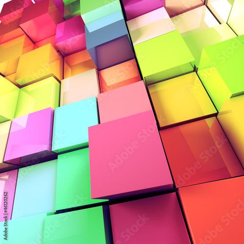 fondo abstracto de cubos de colores © carloscastilla