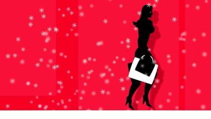 Junge Frau beim Weihnachtseinkauf im Schnee